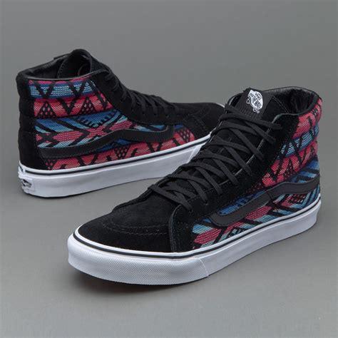 Sepatu Vans High Original sepatu sneakers vans womens sk8 hi slim moroccan geo black
