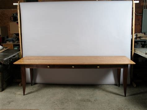 8 foot long desk custom writing desk with drawers in walnut and cherry