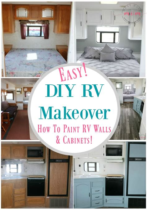 quick and easy kitchen makeover diy painted cabinets painting the interior of the rv trailer maintenance