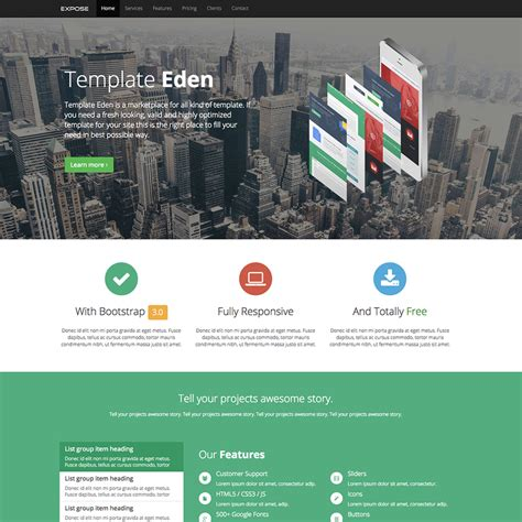 free templates for websites using bootstrap expose eden free responsive bootstrap website template