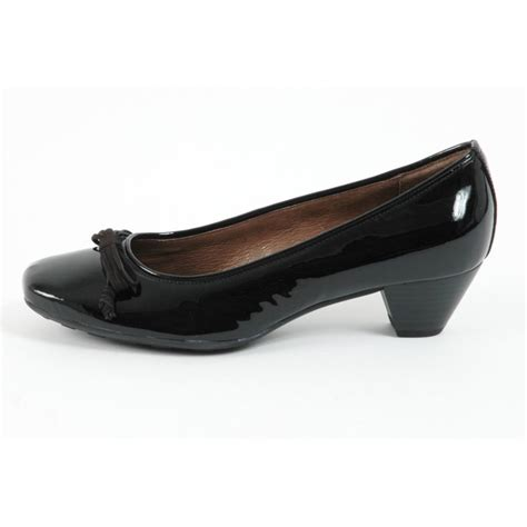 gabor shoes womens low heel court shoe in black