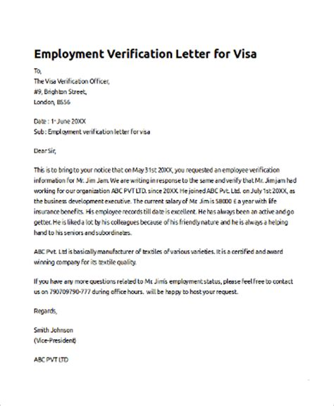 Employment Letter Visa Sle Employee Verification Letter 10 Exles In Pdf Word