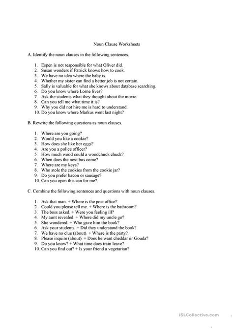 grammar noun worksheets with answers noun clauses questions and answers worksheet free esl printable worksheets made by teachers
