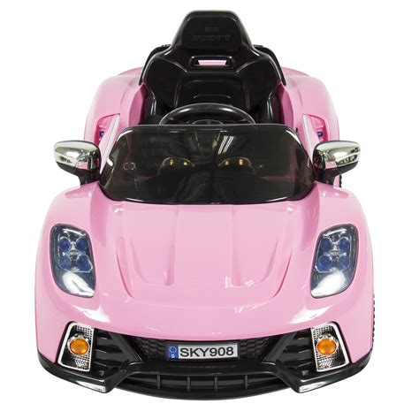 pink kid car 12v ride on car kids w mp3 electric battery power remote