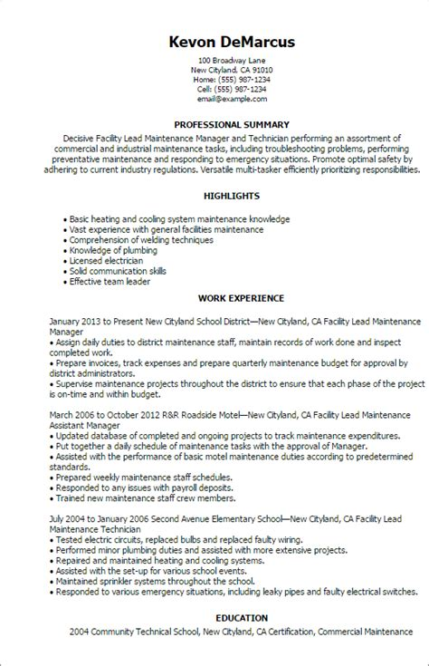 plant manager resume exles cover letter maintenance