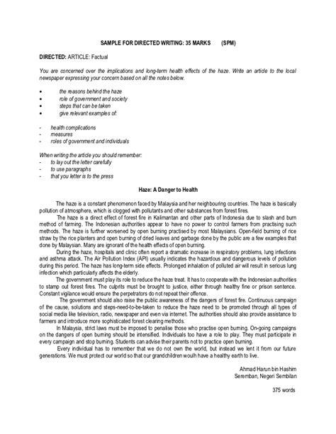 Sle For Spm Directed Writing Letter Newspaper Format