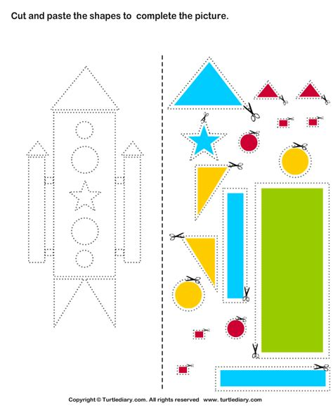 printable shapes cut and paste cut and paste rocket teaching two year olds pinterest