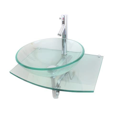 Clear Glass Vessel Sink by Unique Clear Durable Wall Mount Tempered Glass Vessel Sink