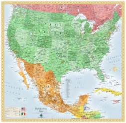 usa and mexico wall map maps