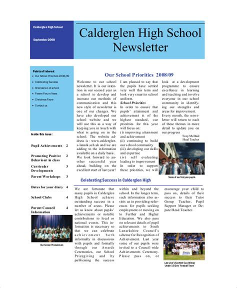 high school newsletter template sle school newsletter 7 documents in pdf word