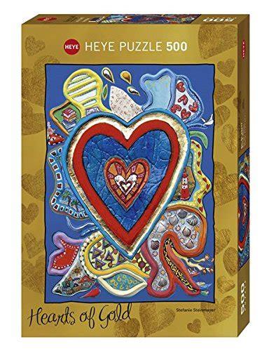 Heye Puzzle 29707 Hearts Blue 500 Pcs Brick Terbaik پازل ۵۰۰ تکه طلاکوب قلب های طلایی قرمز آبی اثر استفانی