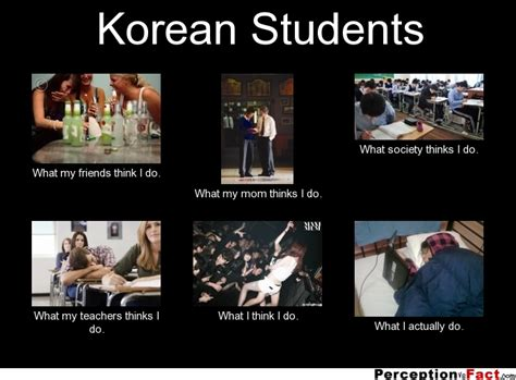 What My Parents Think I Do Meme - korean students what people think i do what i really do perception vs fact
