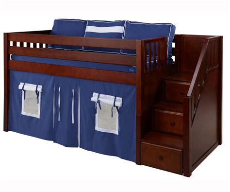 loft bed with steps bedroom rustic lacquered walnut bunk bed which is having