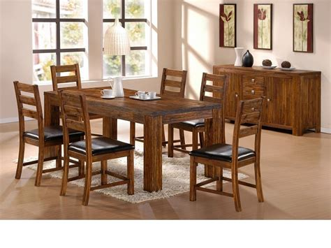 Acacia Dining Table And Chairs Soild Acacia Wooden Dining Table And 6 Chairs Homegenies