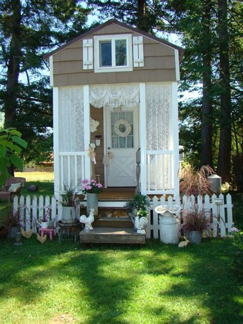 a quot shabby chic quot tiny house with covered front porch way