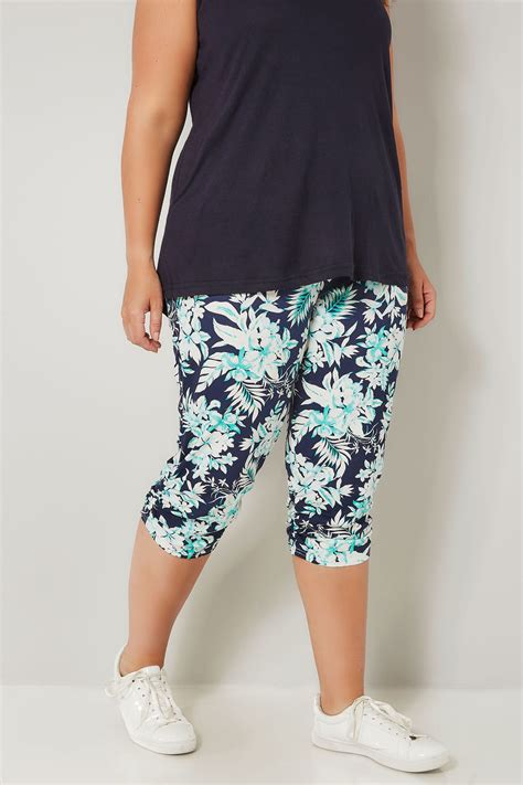 Harem Cropped navy green tropical cropped harem trousers plus size 16