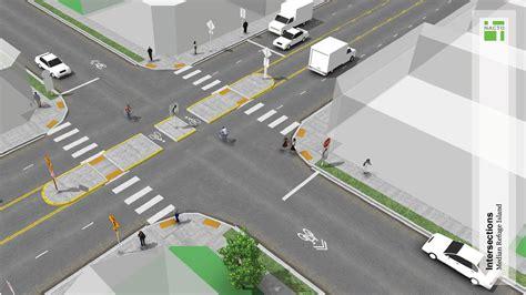geometric design criteria for urban streets median refuge island national association of city