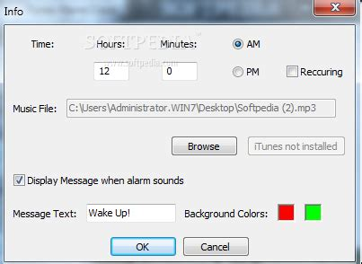 itunes alarm clock 2 0