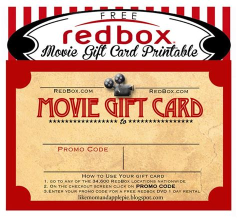 redbox printable gift certificates 25 images of movie theater gift certificate template