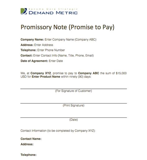 promise to pay agreement template templates writing and money on