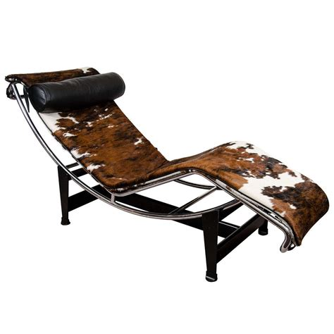 cowhide chaise lounge a mid century le corbusier lc4 lounge chair in cowhide at