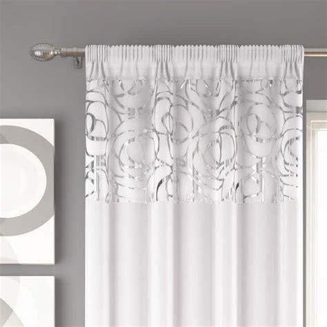 white and silver voile curtains arran white slot top voile panels affordable prices