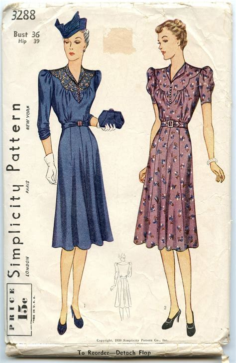 pattern for vintage dress 1930s vintage dress pattern simplicity 3288 womens dress