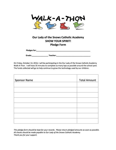 walk a thon pledge form our of the snows catholic