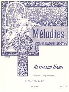 0043046606 livre de melodies volume reynaldo hahn melodies volume 2 accompagnement piano