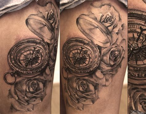 tattoo compass and rose grey roses and compass tattoos on side ideas tattoo