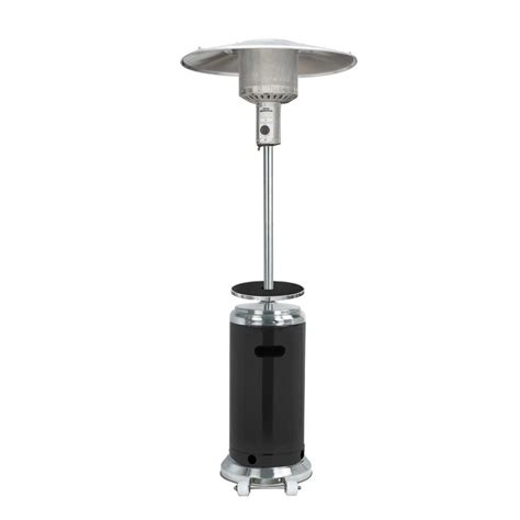 stainless steel patio heater shop az patio 41000 btu stainless steel black floorstanding liquid propane patio heater at lowes