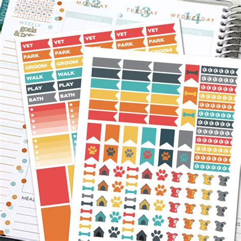 printable planner checklist stickers printable planner stickers dog planner stickers by