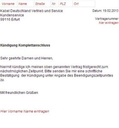 Muster Kündigung Berlin Direkt Versicherung K 252 Ndigungsschreiben Kabel Deutschland