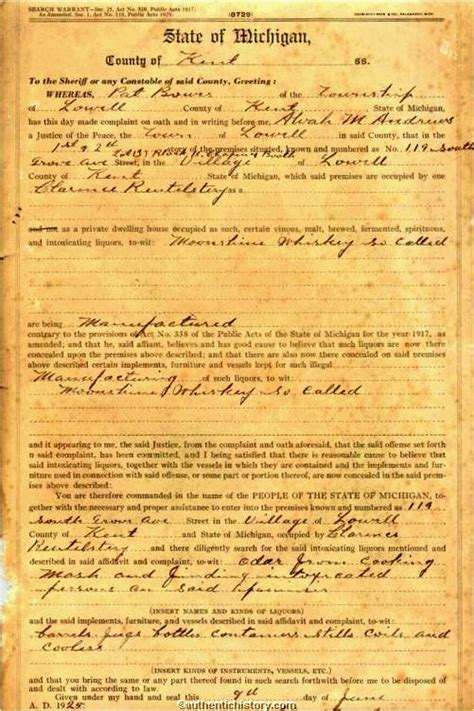 Mi Warrant Search An Overview Of The Prohibition Era 1919 1933