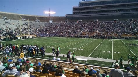 notre dame stadium visitor section lower level sideline notre dame stadium football seating