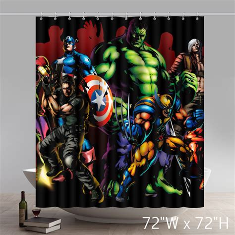 avengers curtains marvel comic shower curtains soozone