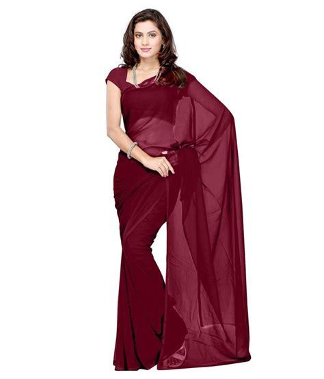 Plain Maroon 1 real fashion plain maroon saree with blouse buy real fashion plain maroon saree with