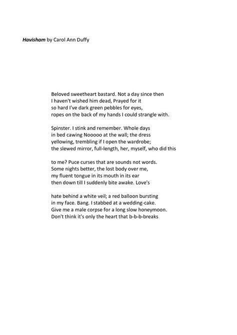 Havisham By Carol Duffy Essay by Havisham Carol Duffy Poetry And Other Sayings