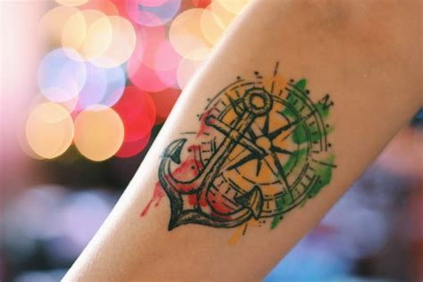 compass tattoo review here is my anchor compass rastawatercolor tattoo 1