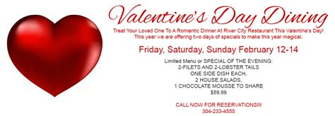 valentines day deals s day specials river city restaurant banquets