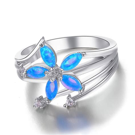 blue engagement rings celtic engagement moon blue opal silver ring