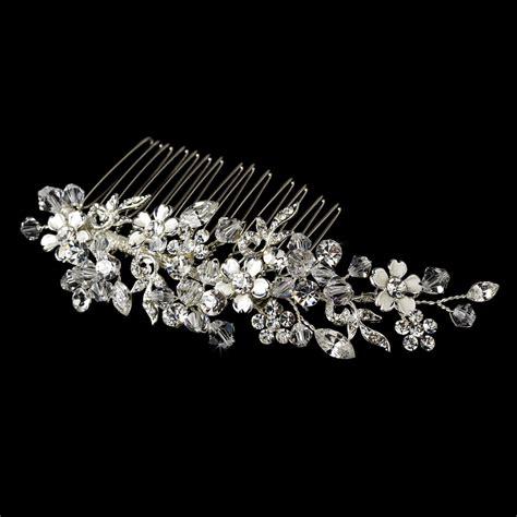 striking floral bridal comb w austrian