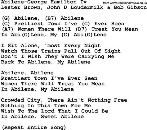 printable hamilton lyrics country music abilene george hamilton iv lyrics and chords