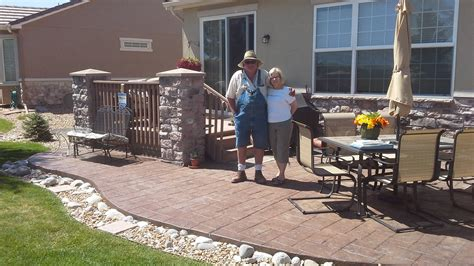 Stamped concrete patio landscaping   Don King Landscaping.