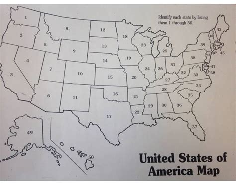 us map states numbered states numbered map