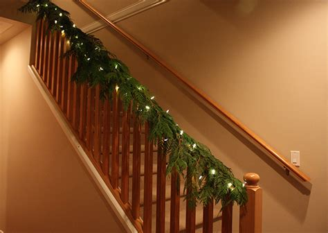 christmas lights for stair banisters christmas banister decorating ideas
