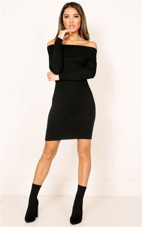 knit black dress warm hearts knit dress in black showpo