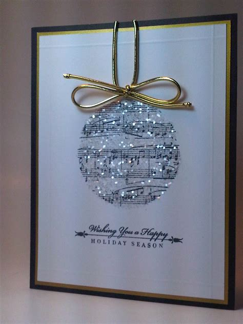Handmade Sheet Cards - glittery sheet ornament card with gold string