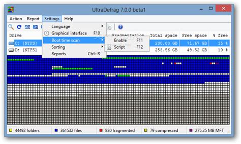the open boat setting analysis ultradefrag users will be able to access options such as