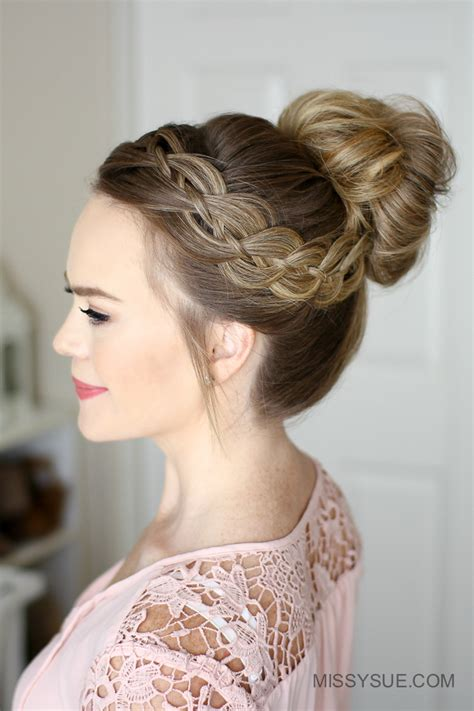 High Hairstyles by Four Strand Braid High Bun Fsetyt